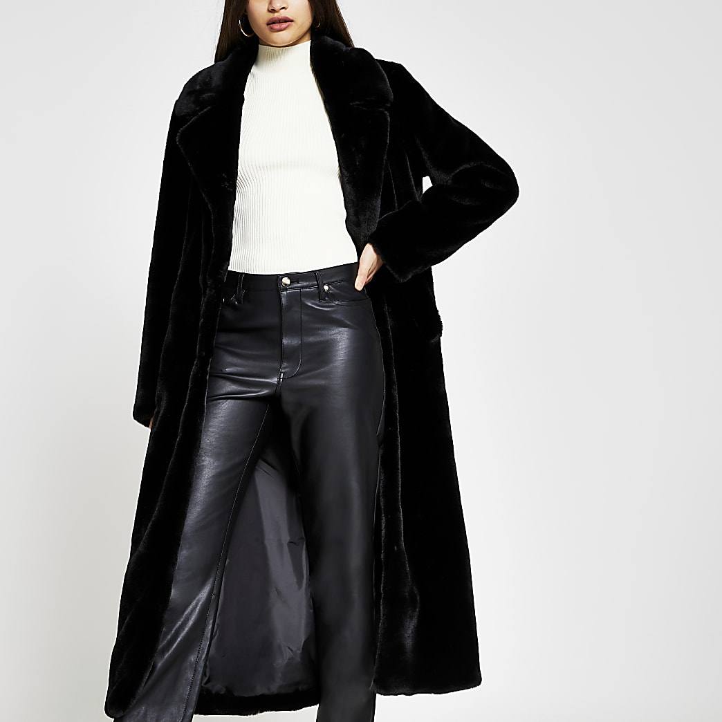 Black single breasted faux fur coat