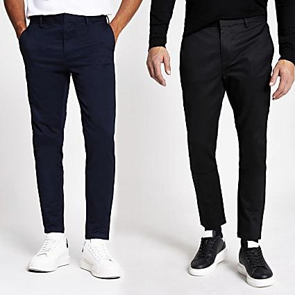 Black skinny chino trousers 2 pack