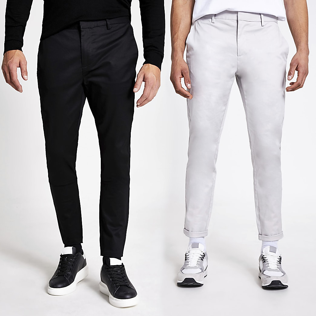Black skinny chino trousers 2 pack