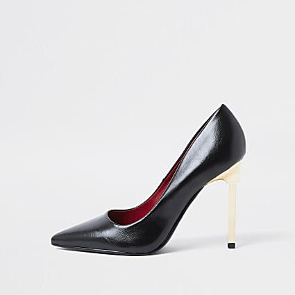 Black skinny court heel