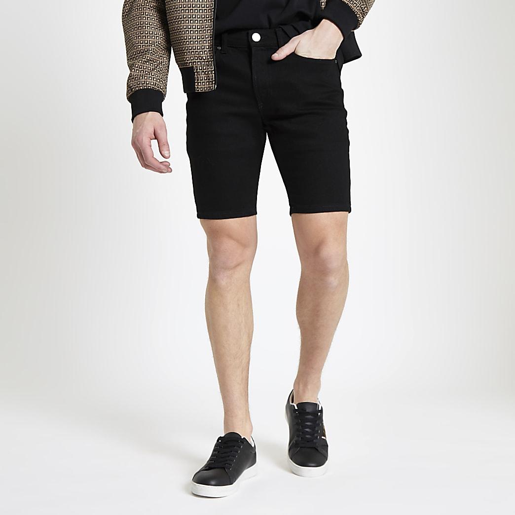 Zwarte skinny denim short