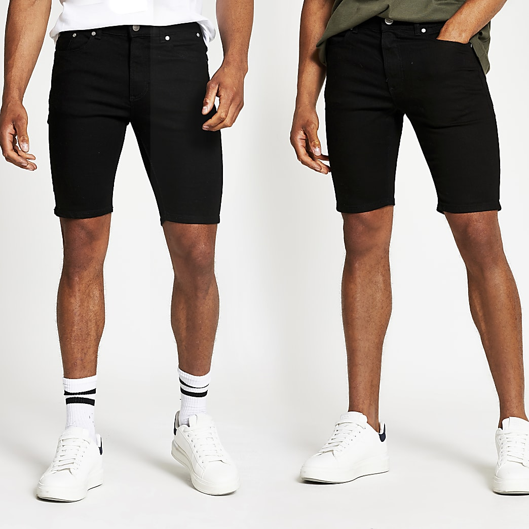 Black skinny fit denim shorts 2 pack