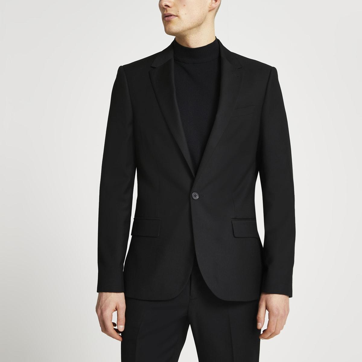 Schwarze Skinny Fit Anzugjacke