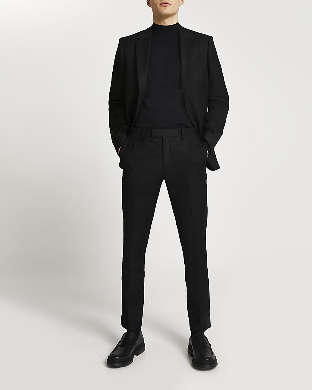 Black skinny fit suit trousers