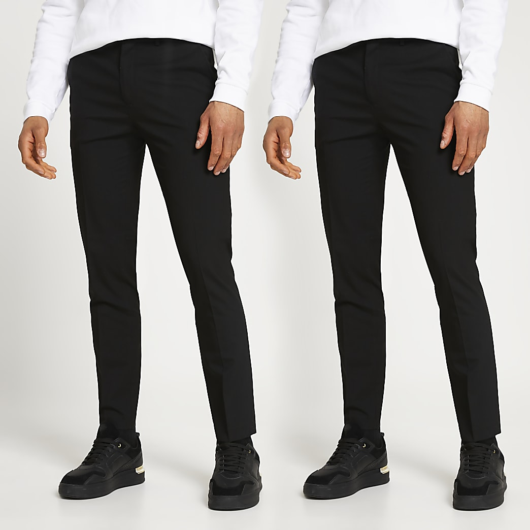 Black skinny fit trousers 2 pack