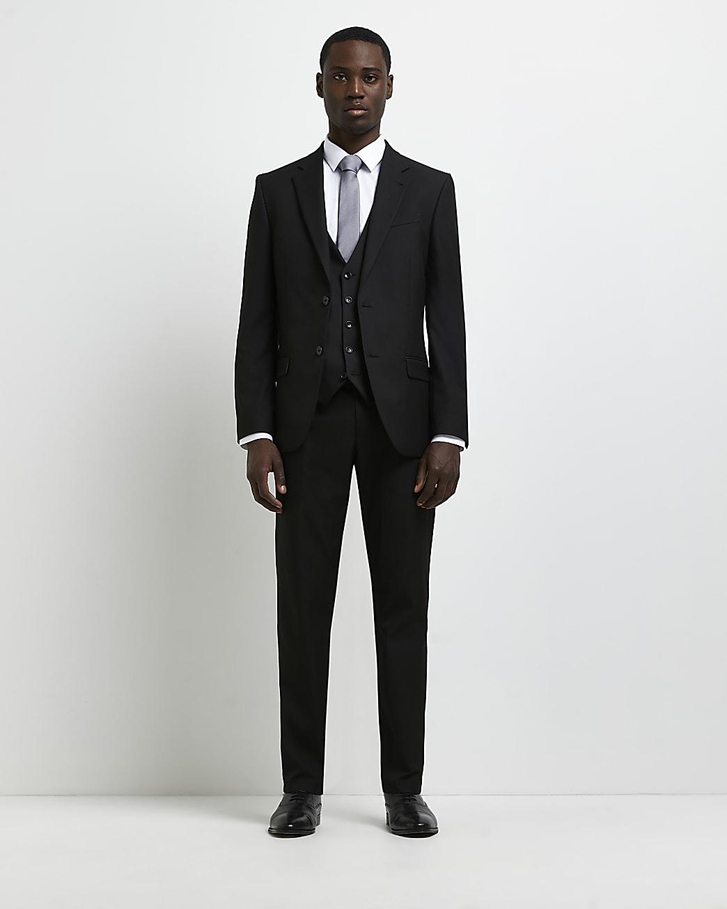 Black skinny fit twill suit jacket