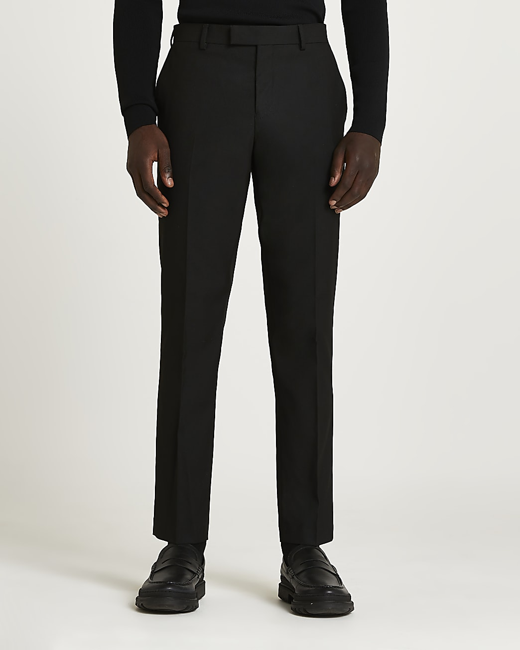 Black skinny fit twill suit trousers