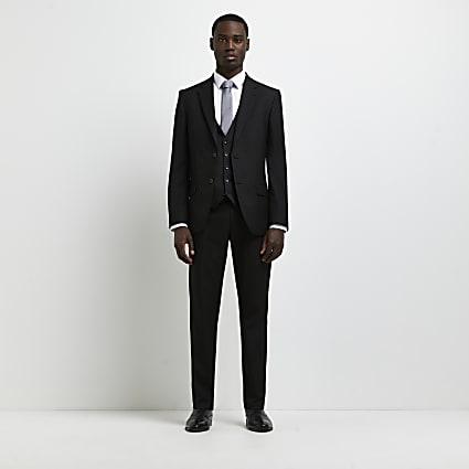 Black skinny twill suit jacket