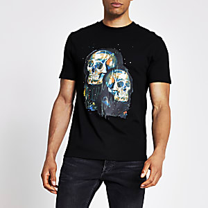 Schwarzes Slim Fit T-Shirt mit Totenkopf-Print und Strass