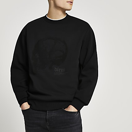 Black skull graphic slim fit sweatshirt