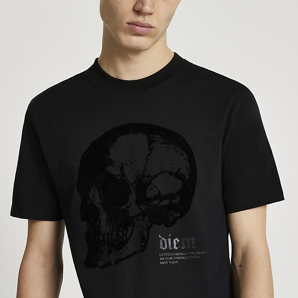 Black skull graphic slim fit t-shirt