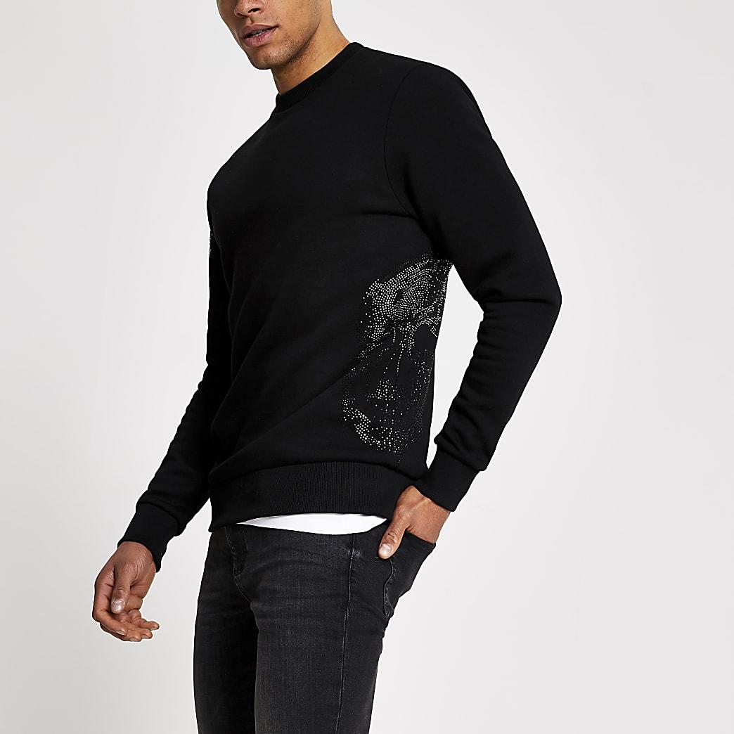 Zwart slim-fit sweatshirt met doodshoofd op lange mouwen