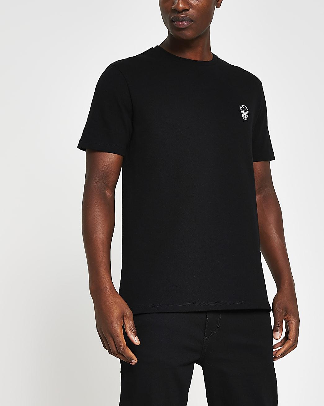 Black skull pique slim fit t-shirt