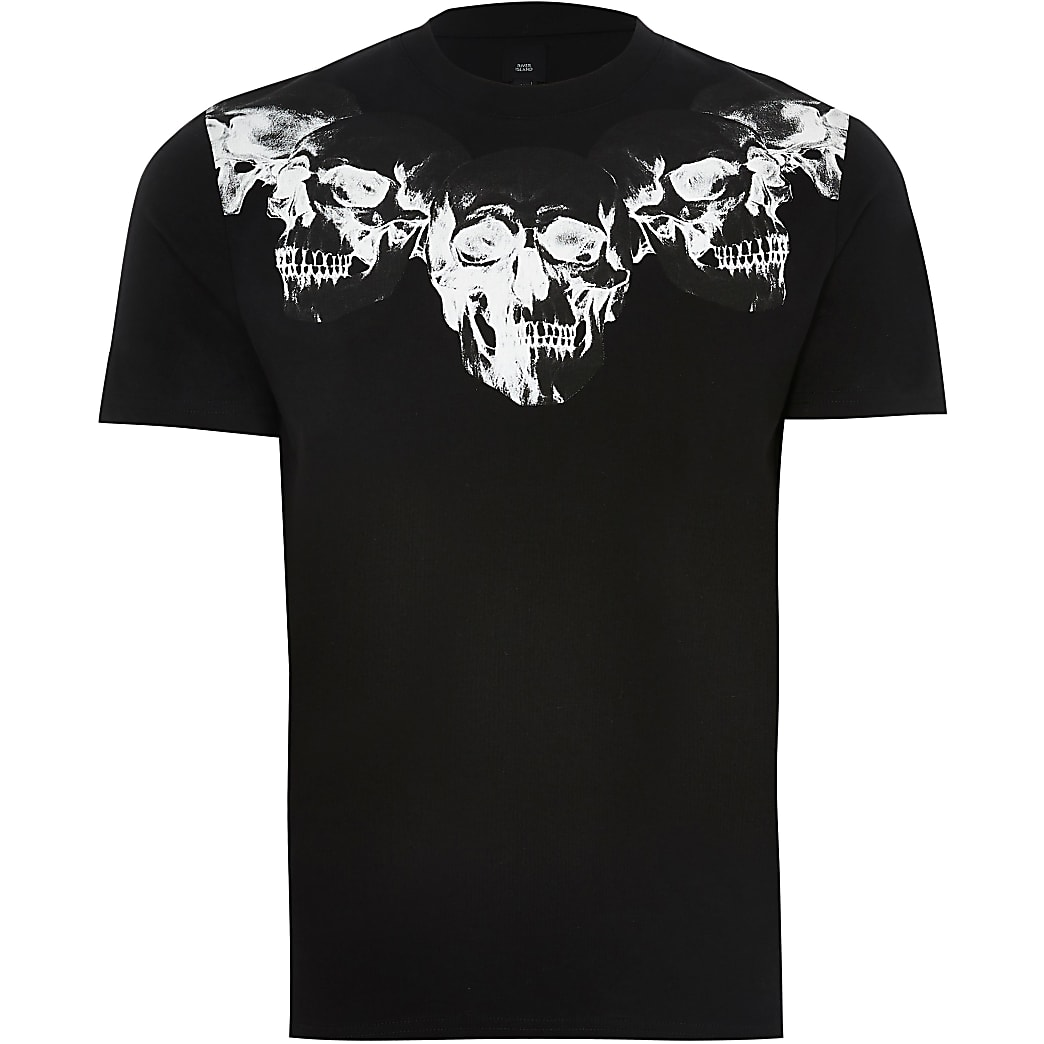 Black skull print slim fit t-shirt