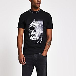 Schwarzes Slim Fit T-Shirt mit Totenkopf-Print