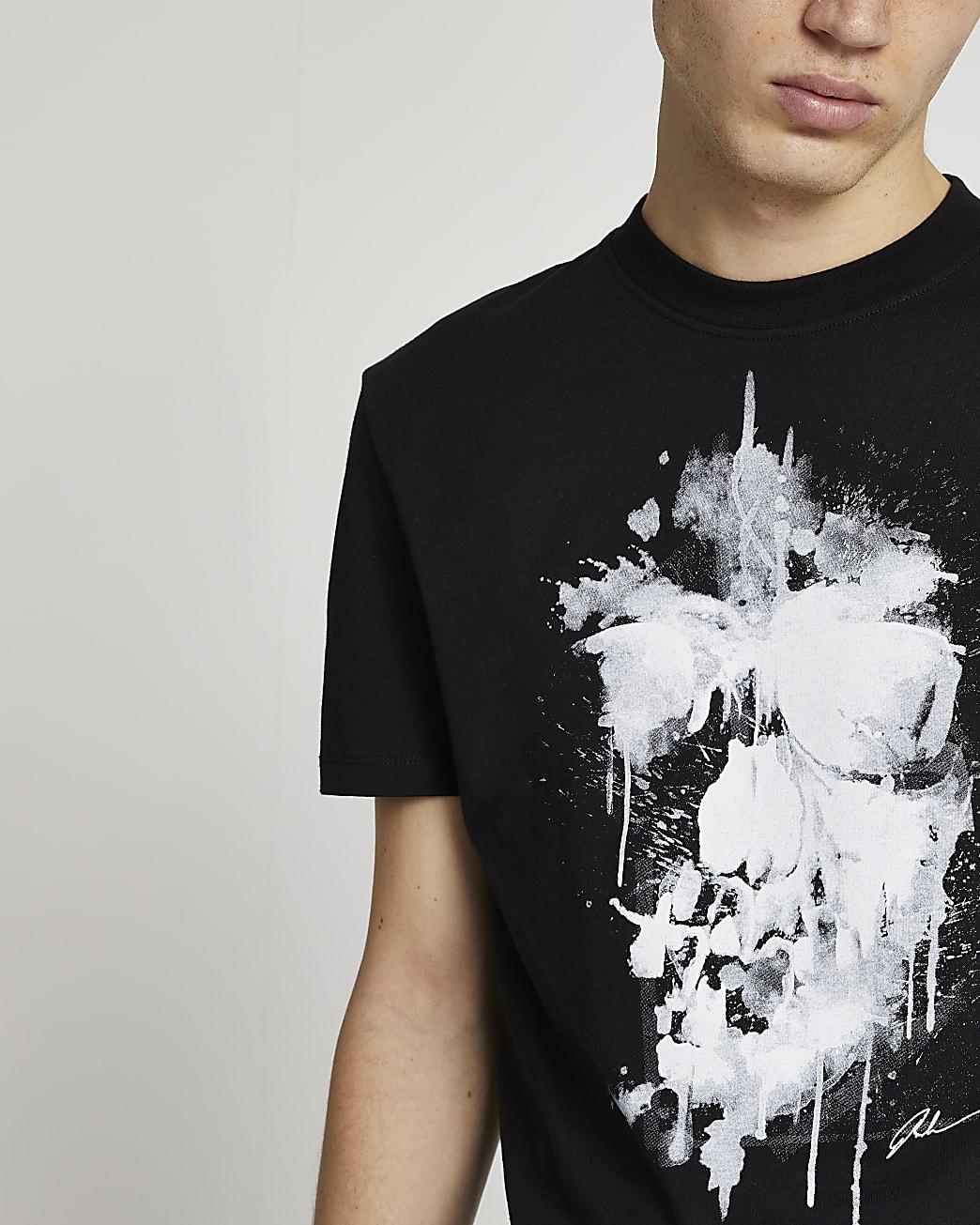 Black skull slim fit t-shirt