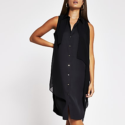 Black Sl Longline Asym Shirt Dress