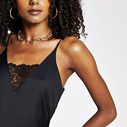 Black Sl V Neck Lace Cami