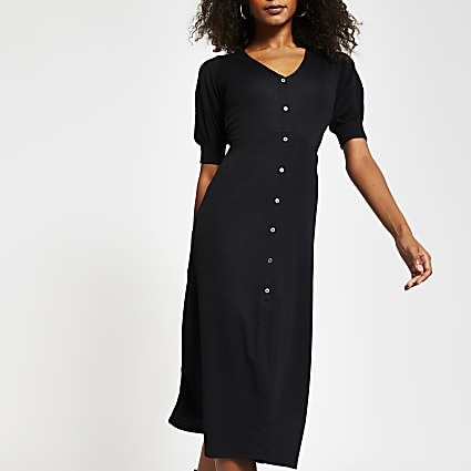 Black sleeve detail button down Midi dress