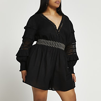 Black sleeve detail cut out playsuit