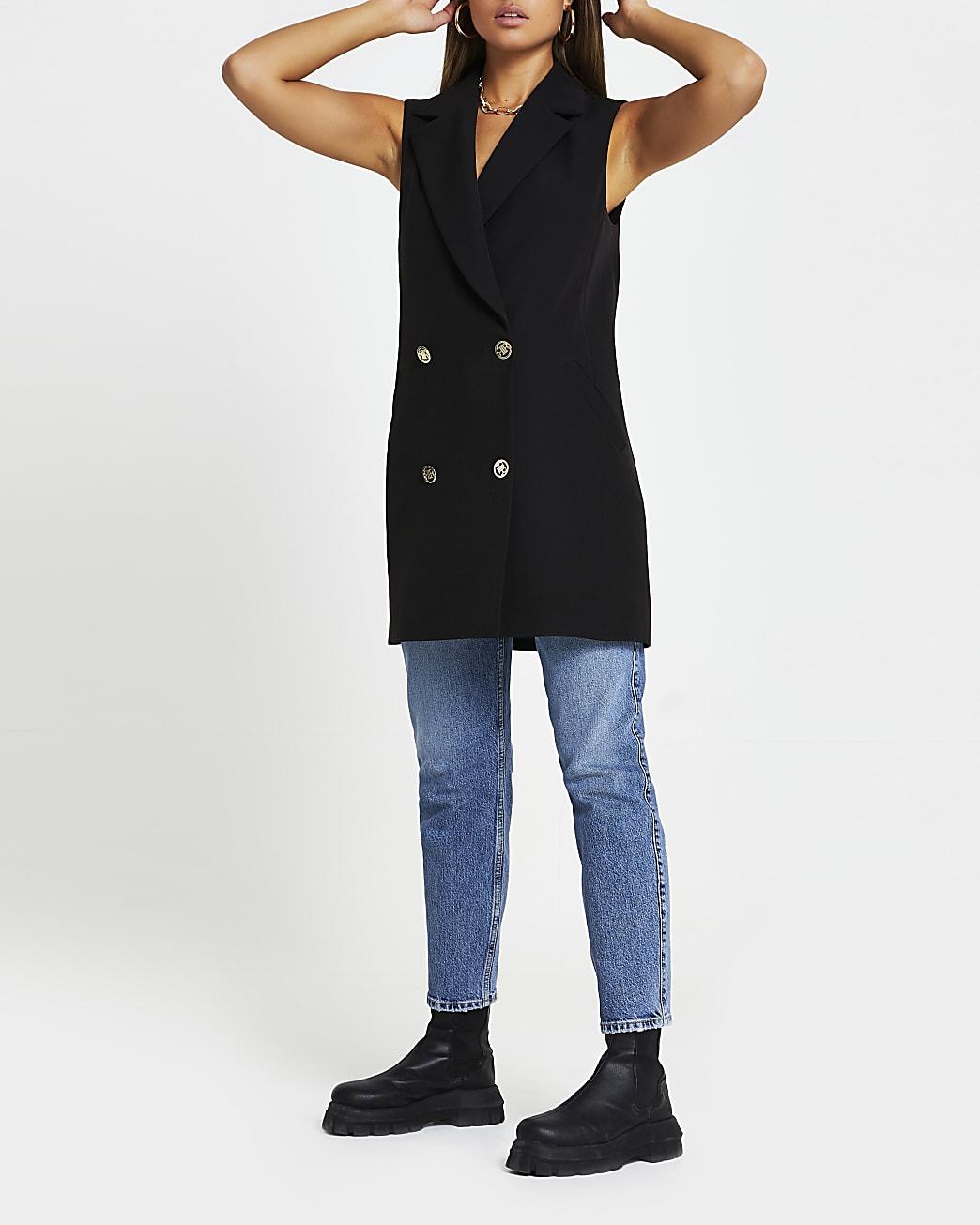 Black sleeveless blazer