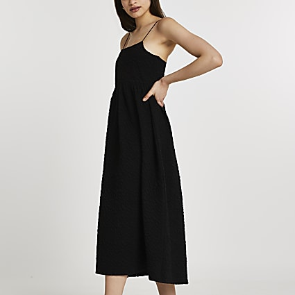 Black sleeveless cami midi dress