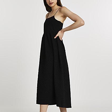 Black sleeveless cami midi dress