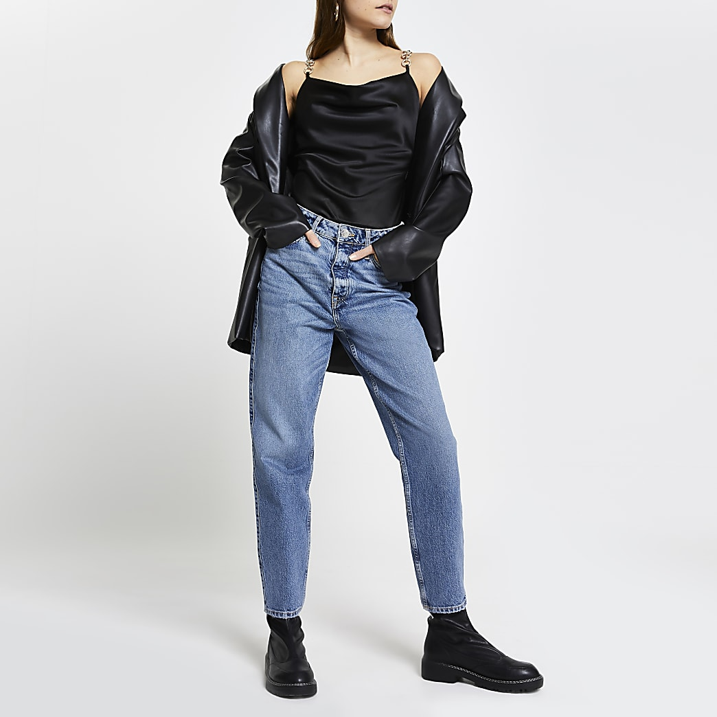 Black sleeveless chain trim bodysuit