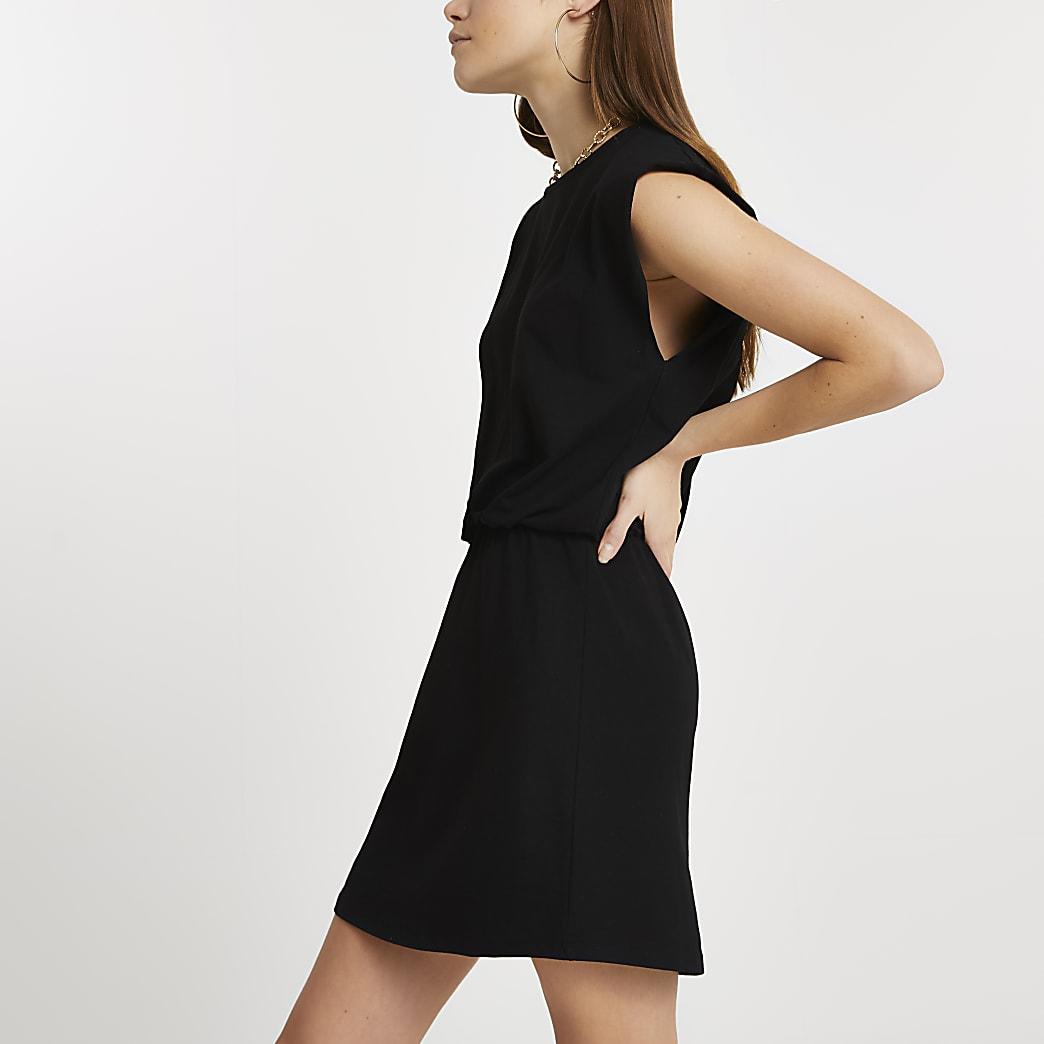 Black sleeveless cinched waist t-shirt dress