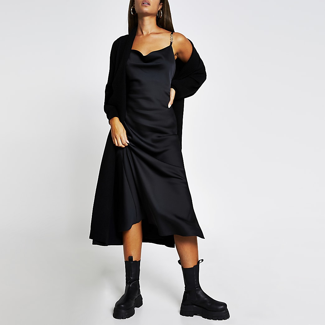 Black sleeveless cowl midi dress with trim