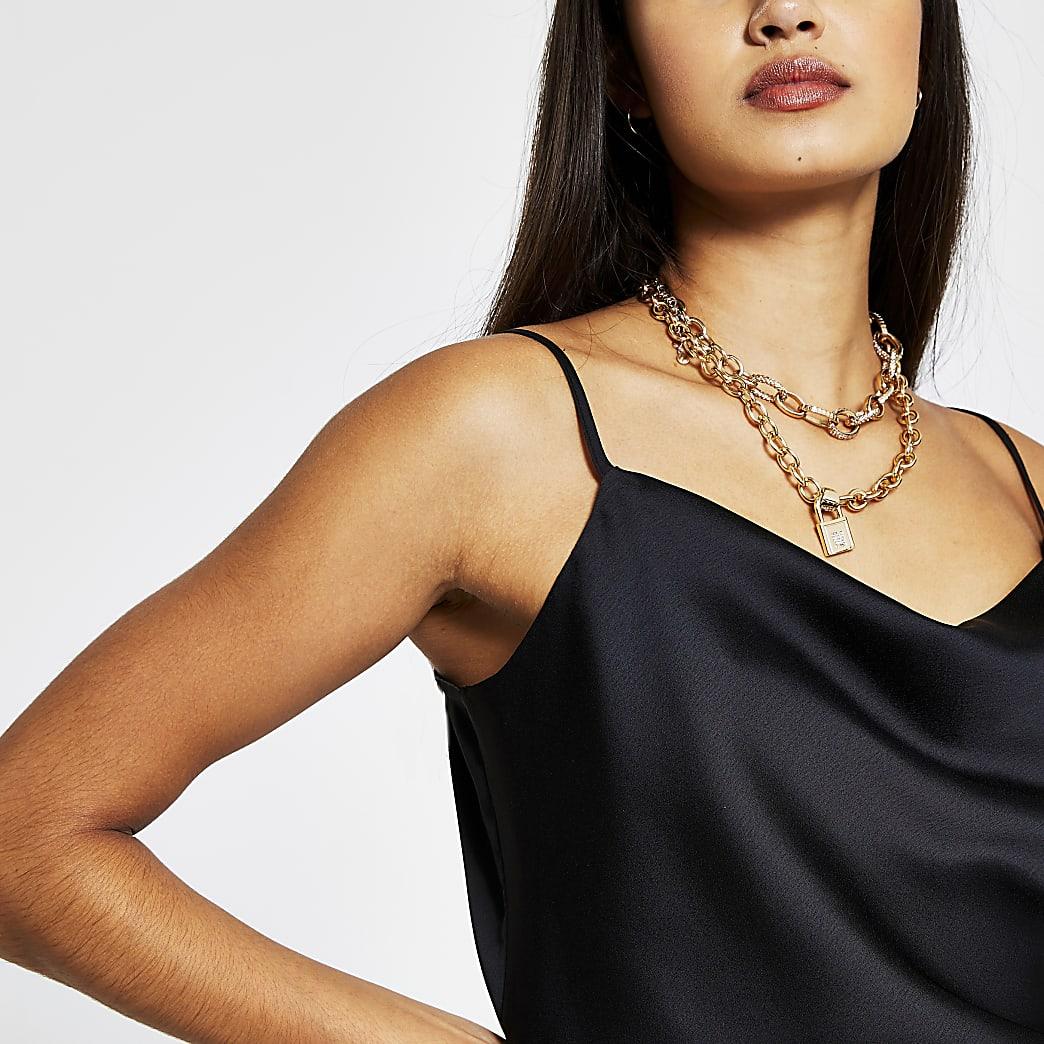 Black sleeveless cowl neck cami top