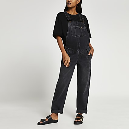 Black sleeveless maternity dungarees