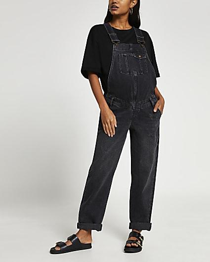 Black sleeveless maternity dungarees