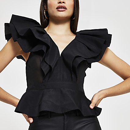 Black sleeveless organza frill v neck top