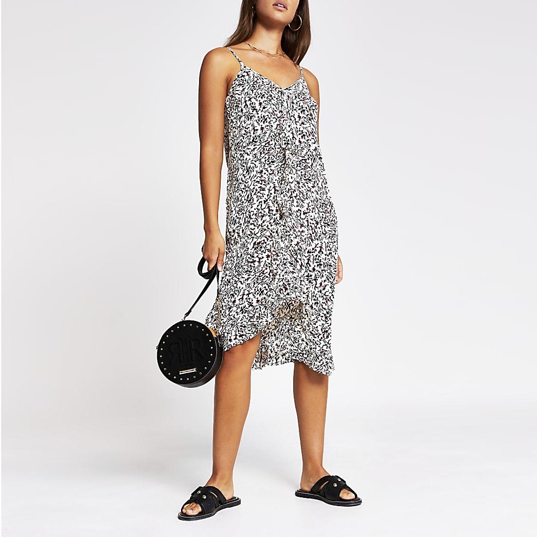 Black sleeveless printed ruffle slip dress