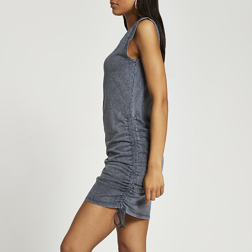 Black sleeveless side ruched denim dress