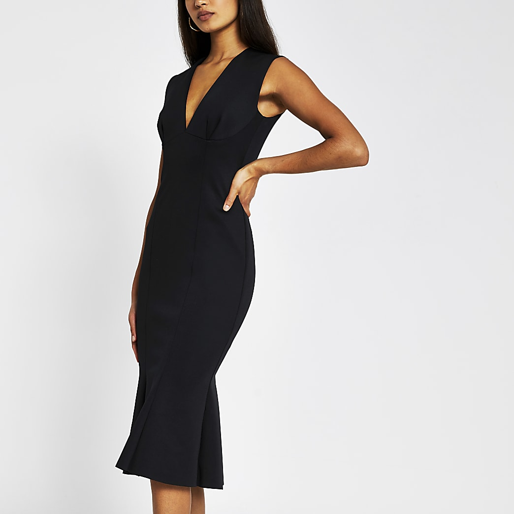 Black sleeveless v neck bodycon midi dress