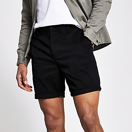 Black slim chino short