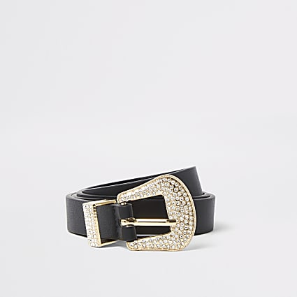 Black slim diamante Western belt