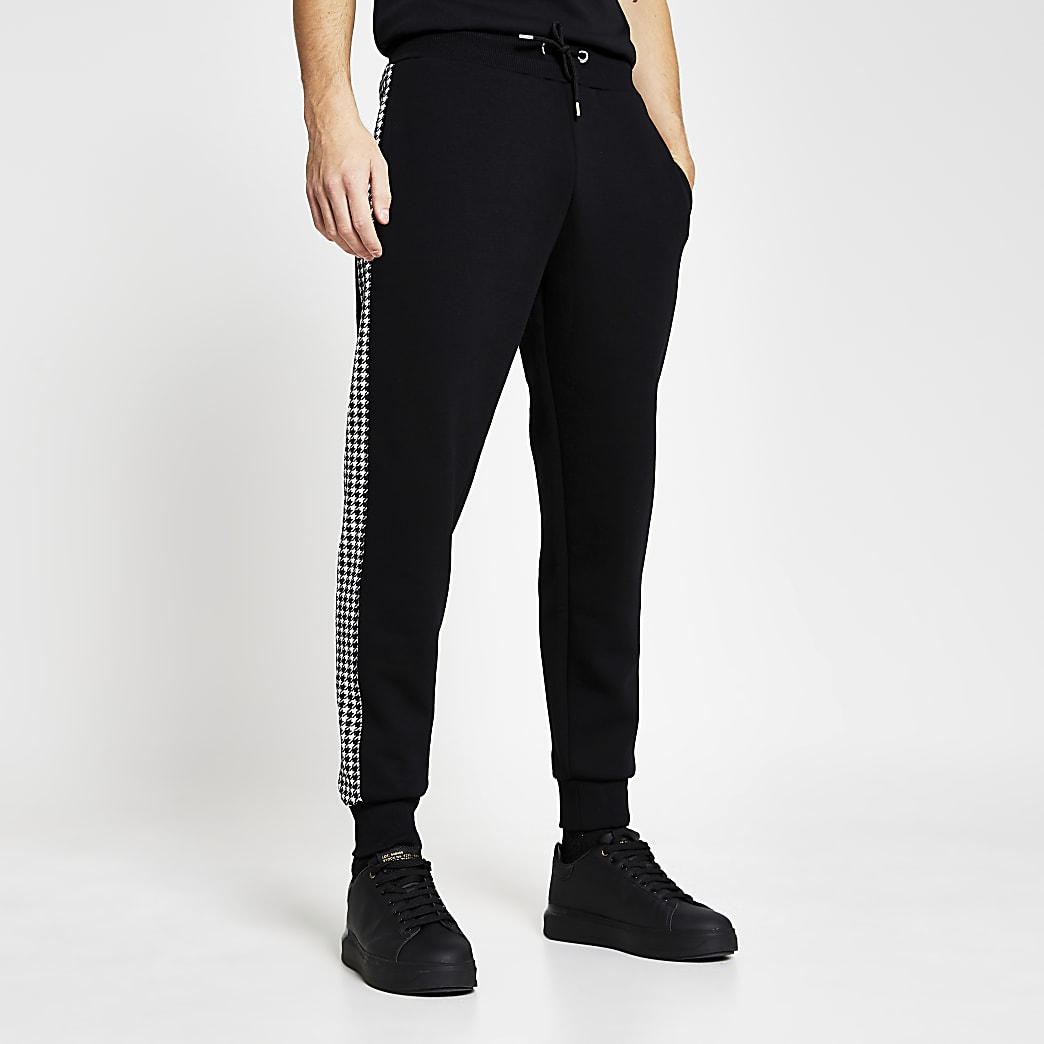 Black slim dogtooth panel joggers