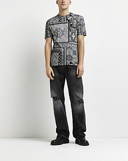 Black slim fit bandana paisley print t-shirt