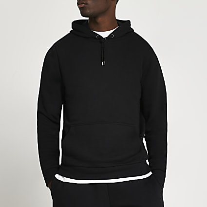Black slim fit basic hoodie