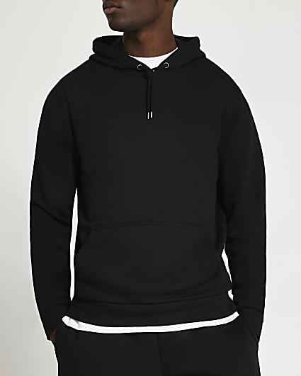 Black slim fit basic hoodie