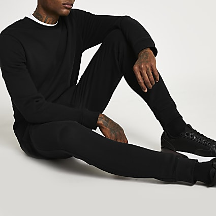 Black slim fit basic sweatshirt
