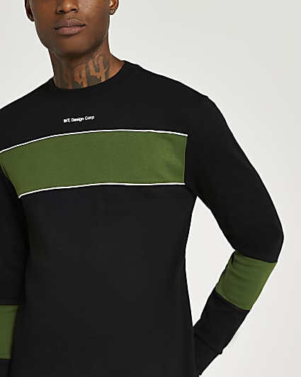 Black slim fit block long sleeve t-shirt