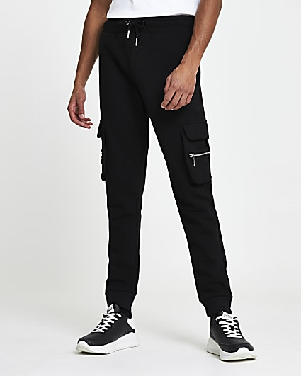 Black slim fit cargo joggers