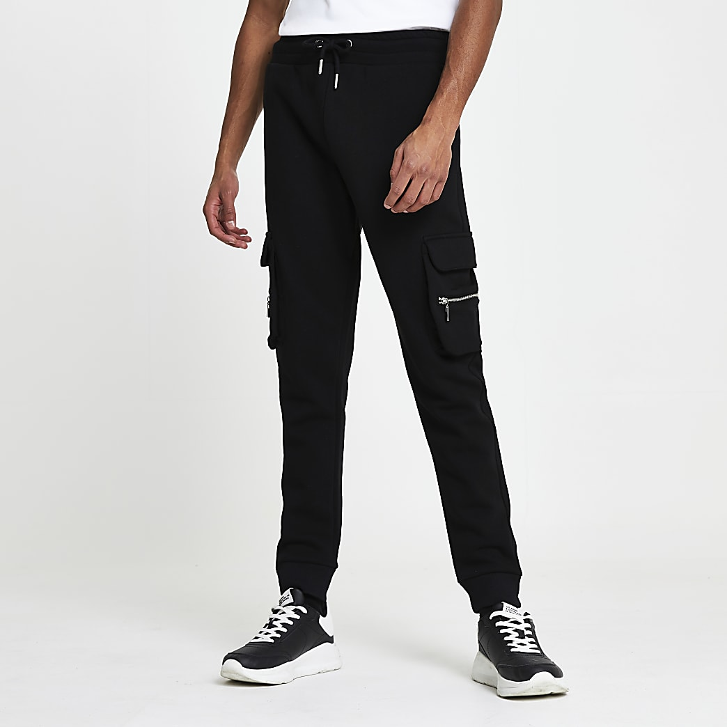 Black slim fit cargo joggers