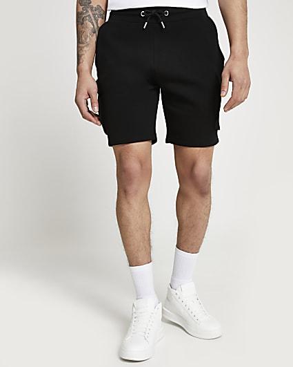 Black slim fit cargo shorts