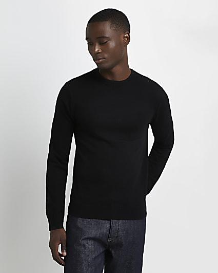 Black slim fit cashmere blend jumper