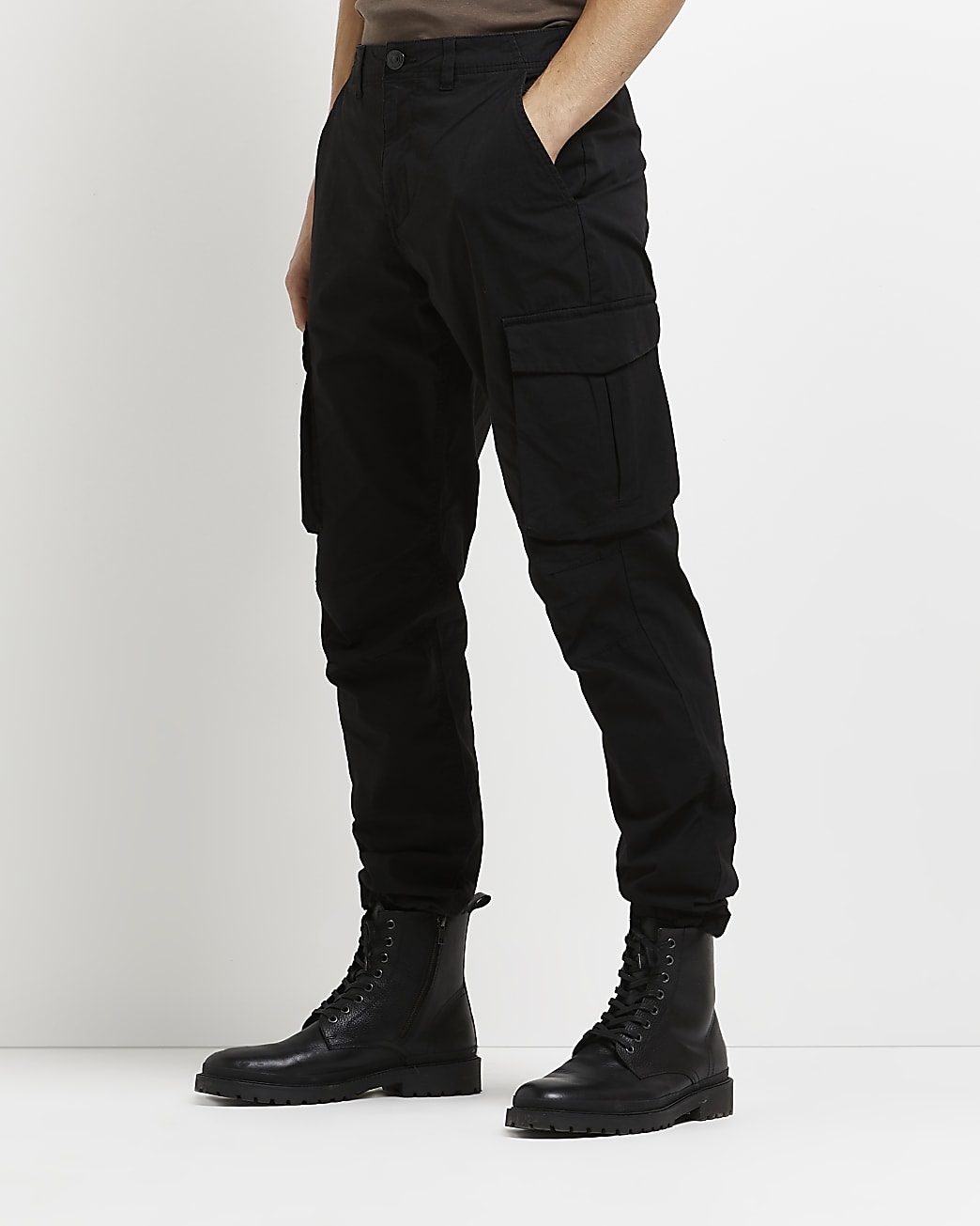 Black slim fit casual cargo trousers